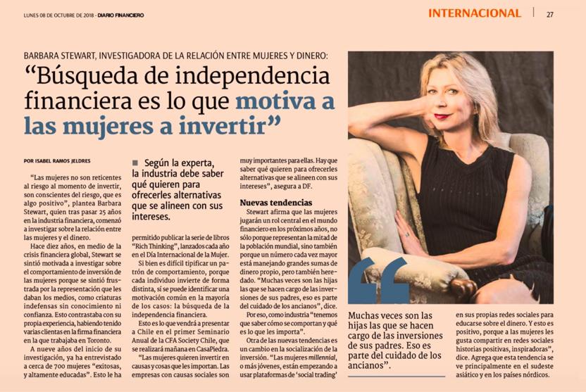 Image of Barbara Stewart article in Chilean newspaper
